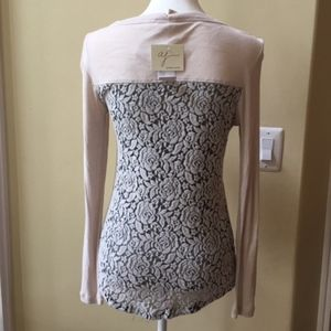 Andrea Jovine Floral Lace Back Long Sleeve Top